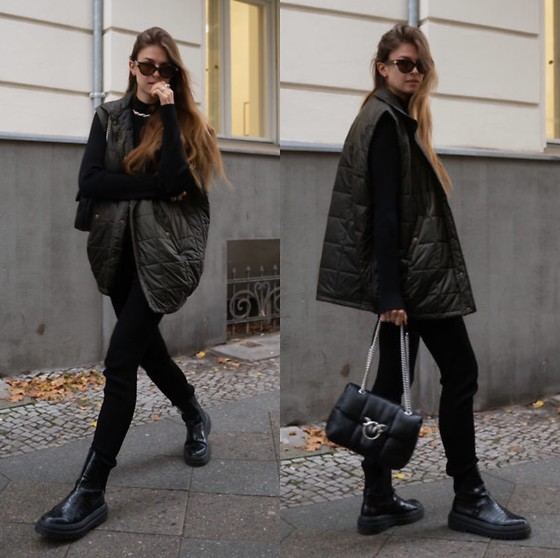Jacky - Zara Black Boots, Birgitte Herskind Black Ripped Pants, Birgitte Herskind Ripped Black Pullover, Pinko Black Bag, Rabens Saloner Vest, Bottega Veneta Cateye Sunglasses - All black outfit combined with oversized vest