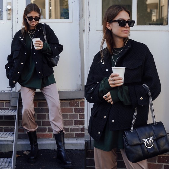 Jacky - Pinko Black Bag, Toral Black Boots, Coster Copenhagen Suit Pants, Meotine Black Jacket, Saint Laurent Cateye Sunglasses - Everyday life look with onweekends.de long sleeve