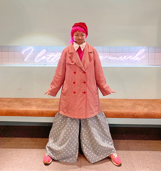 Aww Nhi - Red Beanie, Hot Pink Sweater, Red Checked Jacket, Dot Pant, Hot Pink Shoe - It look funny tho
