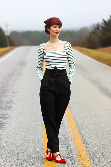 Bleu Avenue - Shein French Style Square Neck Stripe Top, Shein High Waist Paper Bag Trousers Pants, City Classified Red Mary Jane T Strap Flats - One Step at a Time