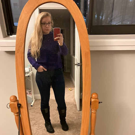 Samantha Husted - Target Purple Cropped Knit Sweater, Eddy Bauer Riding Boots - Purple Monday's