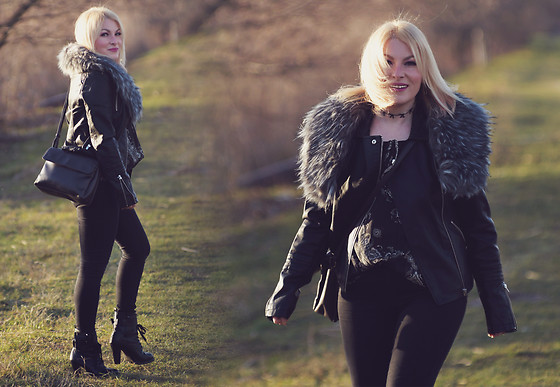 Anca Varsandan - Orsay Faux Fur Scarf, Only Faux Leather Jacket, Picard Bag, Primark Jeans, Orsay Top - Sunkissed in Winter