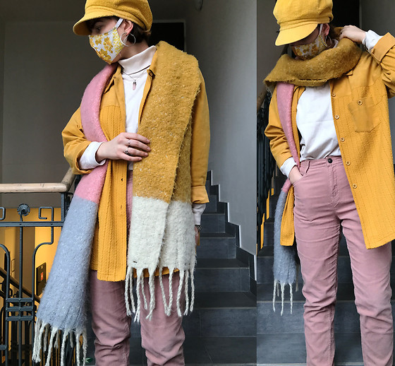 Hypersensitive M. - Diy Floral Mask, Thrifted Mustard Corduroy Brim Beret, Thrifted Creamy Cotton Rollneck, Thrifted Pink Corduroy High Waist Pants, Thrifted Mustard Shirt, Thrifted Multicolour Scarf - Cherry vanilla cream soda