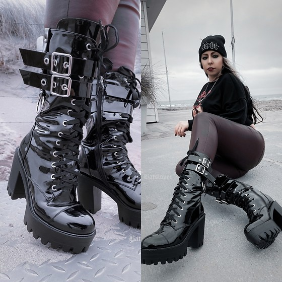 Batslover - Onlymaker Goth Platforms Boots, H&M Leather Pants, Zeeman Ac/Dc Beanie - Cold