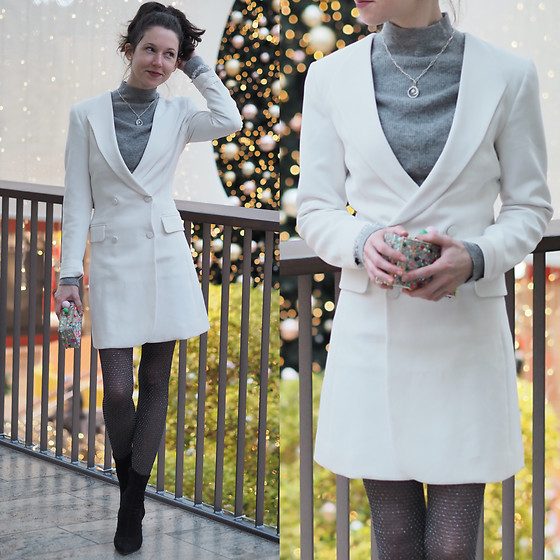 Claire H - H&M Blazer Dress, Sophia Webster Clara Box Clutch - Like fireflies