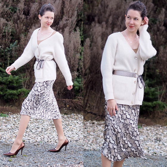 Claire H - Vintage Old Cardigan, H&M Snake Print Skirt, Högl Pointed Heels - Grand Boa