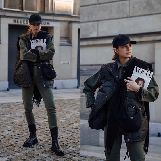 Jacky - Toral Black Boots, Baum & Pferdgarten Green Jeans, Baum & Pferdgarten Green Jeans Jacket, Onweekends Black Cap, Rabens Saloner Oversized Vest, Prada Small Bag, Acne Studios Black Scarf - Green two piece combined with a vest and boots