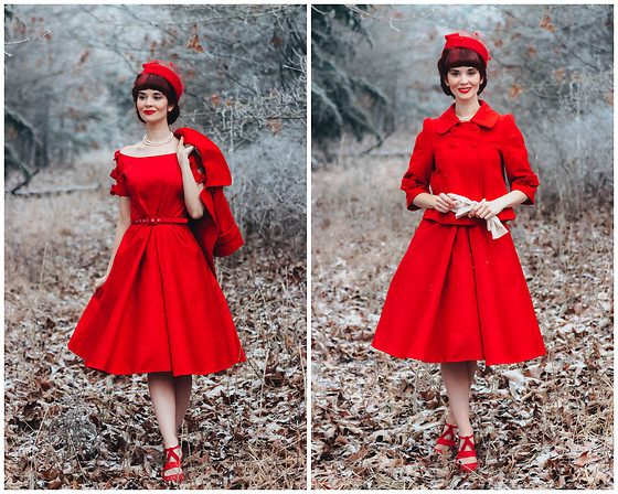 Bleu Avenue - Unique Vintage Selma Bow Sleeve Dress, Forever 21 Red Vintage Crop Jacket - Vintage Valentine