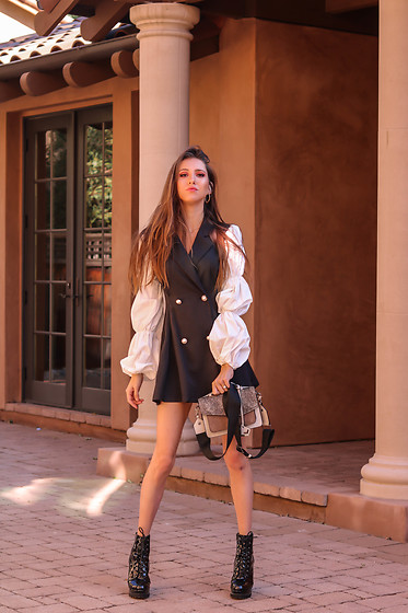 Jenny M - Shein Blazer Dress, Forever 21 Boots, Botkier Bag - @thehungarianbrunette - B&W Vibes