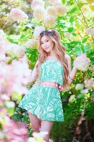Shelly G - Lilly Pulitzer Green Floral Top, Lilly Pulitzer Green Floral Skirt - Green Lilly Pulitzer Matching Set