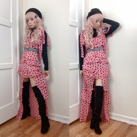 Lovely Blasphemy - For Love & Lemons Maison Maxi Dress, Dolls Kill Baddie Bae Thigh High Boots - Pink and black hearts