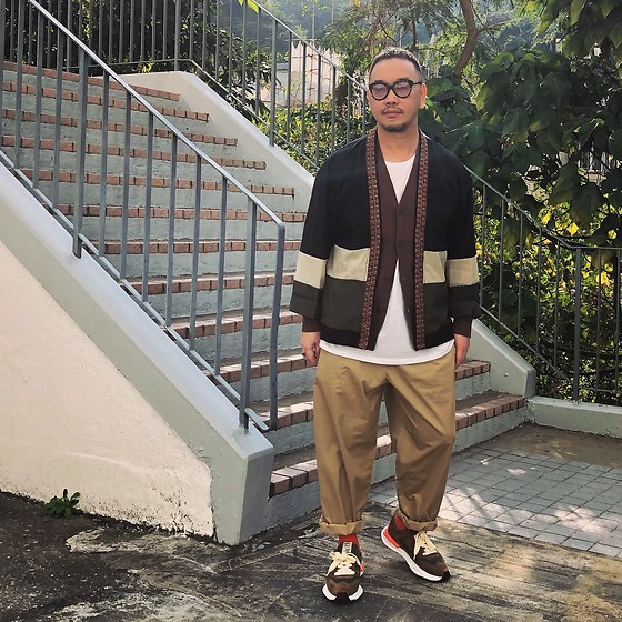 Mannix Lo - Pattern Kimono, Gu Cardigan, Gu Balloon Pants, Miharayasuhiro X Nigel Cabourn Sneakers - True love, is always supports you in difficult times