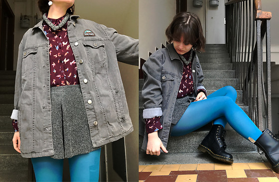 Hypersensitive M. - Thrifted Oversized Denim Jacket, Thrifted Thick Grey Skort, Thrifted Turqoise Tights, Dr. Martens Vegan Docs, Thrifted Shirt With Birds, Majdalenkaapolenka Crafted Necklace - Alize bleu and grenadine