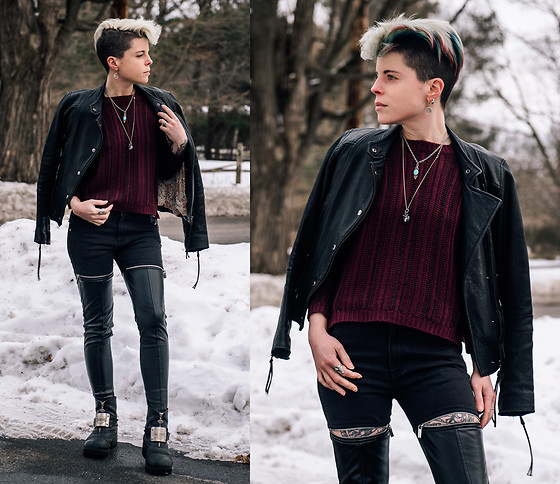 Carolyn W - Leather, Knit, Maniere De Voir Zip, Harley Davidson Thrifted - Dark Hearted Valentine