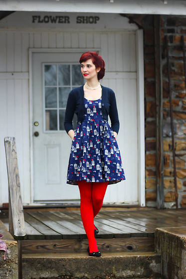 Bleu Avenue - Tulle Birdcage Dress, Modcloth Leggy Layers Tights - Cardinals Dress
