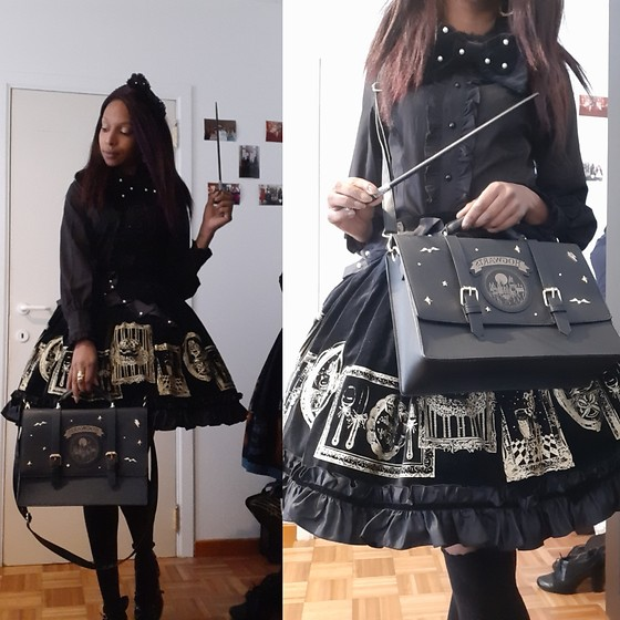 Morphée O'Hara - Angelic Pretty Dessert Collection Skirt, Primark Hogwarts Bag, Taobao Black Blouse, Angelic Pretty Pearls Tripet, Taobao Tea Parties - Hogwarts Lolita