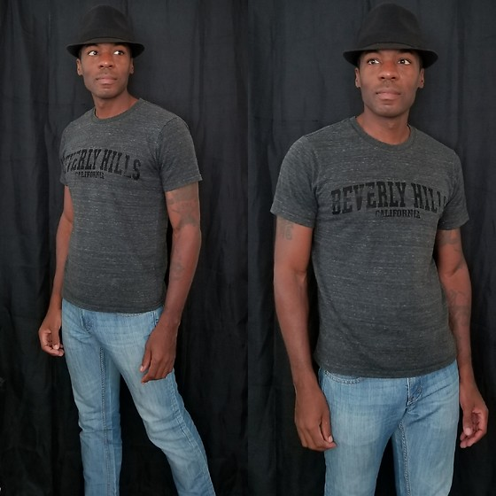 Thomas G - Beverly Hills California, Faded Glory Fedora, Levi's 511 Strauss & Co - Fedora | T-shirt | Jeans