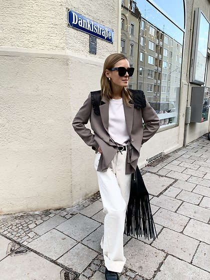 Anna Borisovna - Inwear Blazer, Inwear Pants, H&M Loafer, Mango Bag, Arket Leather Collar, Celine Sunglasses - The Taupe Blazer