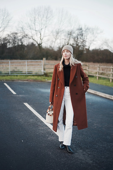 Daniella Robins - Marks & Spencer Coat, White Jeans, Ankle Boots - Last Leg Of Winter – My Coat edit