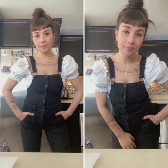 Samantha Rydin - American Eagle Outfitters Overalls, H&M Puff Sleeve Top - It's the sleeves for me