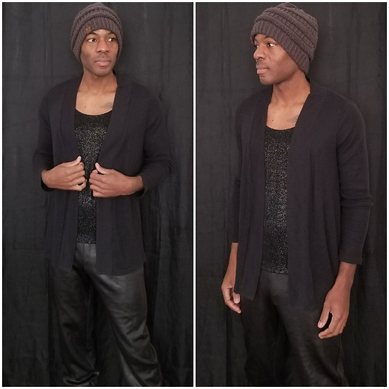 Thomas G - C.C Beanie, Chico's Travelers Glitter Tank Top, Sonoma Life+Style Cardigan, Black Label By Chicos Faux Leather Joggers, Blog - Beanie | Cardigan | Faux leather joggers