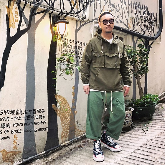 Mannix Lo - Military Anorak, Loose Fit Cropped Pants, Miharayasuhiro X Nigel Cabourn Destroyed Denim Sneakers - Be a rainbow in someone storm