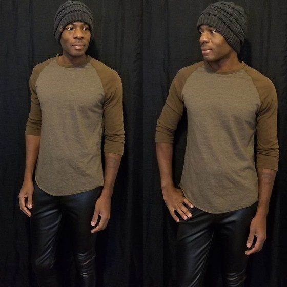 Thomas G - C.C Beanie, Gap Athletic Fit, Faded Glory Faux Leather, Blog - Beanie | Half sleeve shirt | Faux leather pants