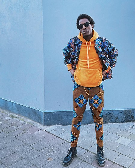 Jon The Gold - Dr. Martens Black Boots, Marni Bunny Print Jacket, Antwrp Velvet Hoodie - Mixing Prints