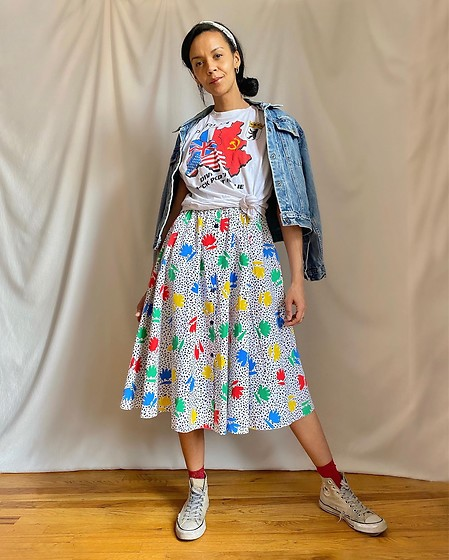 Luna Nova - Calvin Klein Vintage Denim Jacket, Vintage T Shirt, 80'S Floral Sundress - Retro ingredients