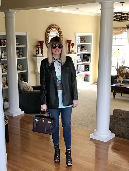 Shannon D - Acne Studios Black Leather Blazer, Hermès Bag, Gucci Sunglasses, Lulu Frost #4 Necklace, Daydreamer Alanis Morissette T Shirt - Black Leather Blazer