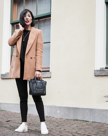 Vivian Tse - Zara Camel Blazer, Cinco Necklace, Zara Sweater, Celine Bag, Mango Leggings, Veja Sneakers - Seeking simplicity