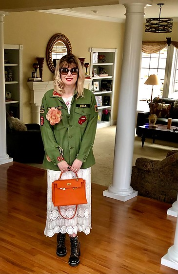 Shannon D - Vintage Dress, Louis Vuitton Boots, Hermès Bag, Madeworn Jacket, Chloé Sunglasses - Madeworn Rolling Stones Army Jacket