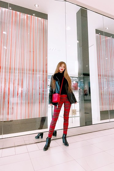 Shelly G - Guess Faux Leather Jacket, Gucci Bag, Zara Red Pants, Aldo Booties - Plaid Fashion