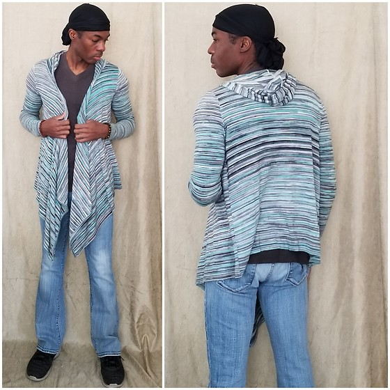 Thomas G - Durag, Truth, Substance & Common Sense V Neck Shirt, Mac & Jac Drape Shrug, Vigoss Bootcut Jeans, Feng Shui Black Obsidian Wealth Bracelet, Skechers Skech Knit, Blog - Durag | Drape Shrug | Bootcut jeans