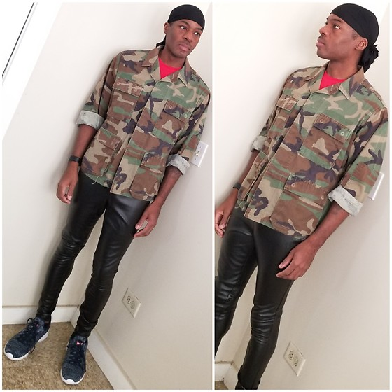 Thomas G - Durag, Military Camouflage Jacket, Faded Glory Faux Leather, Levi's Apex Kt Athletic Inspired Knit Fashion - Durag | Camouflage jacket | Faux leather pants