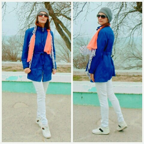 Galina K - Kari Scarf, Ashley Brooke Trench, Shein Beanie, Promod Skinny Jeans - Two scarves and blue trench
