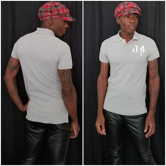Thomas G - Beret Newsboy Cap, American Eagle Outfitters Vintage Fit Polo, Faded Glory Faux Leather Leggings - Beret | Polo shirt | Faux leather pants