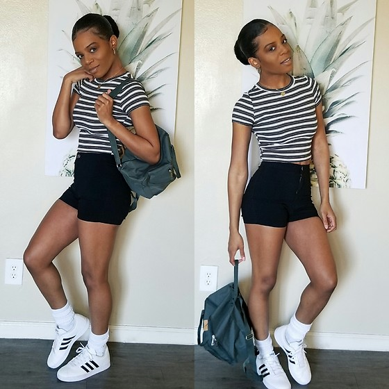 Kami C - Adidas Sneaks, H&M Striped Crop - Fry-Day
