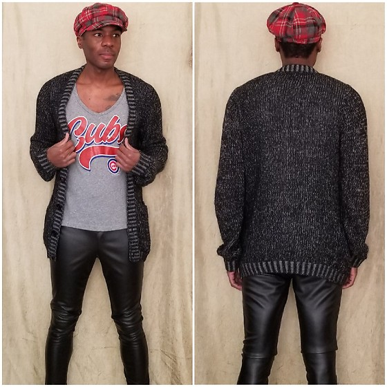Thomas G - Beret Newsboy Cap, Campus Lifestyle (Genuine Merchandise) Chicago Cubs Shirt, H&M Cardigan, Faded Glory Faux Leather Pants - Beret | Cardigan | Faux leather pants