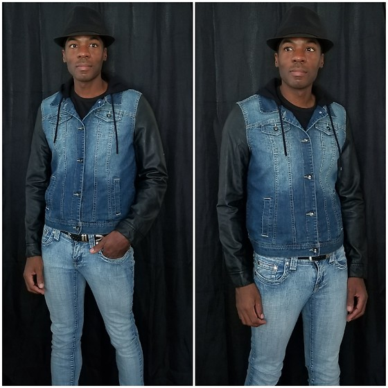 Thomas G - Faded Glory Fedora, Dravus Hendrix Hooded Denim Vest Jacket, Hydraulic Extreme Slim Nikki - Fedora | Denim vest jacket | Skinny jeans