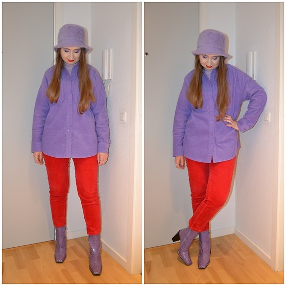 Mucha Lucha - Asos Bucket Hat, Stradivarius Roll Neck Top, Monki Shirt, Monki Trousers, Asos Boots - Purple and red