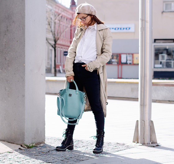 Iva K - Baglittlepack Bag, Nu In Jeans, United Colors Of Benetton Trench Coat, Tamaris Boots, Esprit Shirt, C&A Hat - Mint green bag