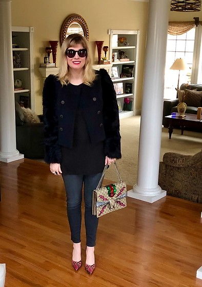 Shannon D - Rebecca Taylor Navy Colored Jacket, Manolo Blahnik Snakeskin Heels, Joe's Jeans Grey Denim, Gucci Bag - Rebecca Taylor Jacket