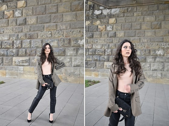 "Jelena Dimić - P.S. Fashion Blazer, Zara Halter Neck Bodysuit, Cocopat Baguette Bag ""Sara"", H&M Faux Leather Trousers, Ooh La Shoes - Don't think too much, just turn off the lights"