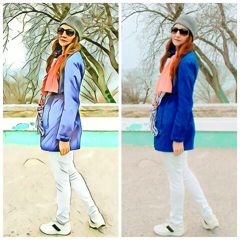 Galina K - Ashley Brooke Trench, Promod Jeans - Blue trench and white jeans for Spring