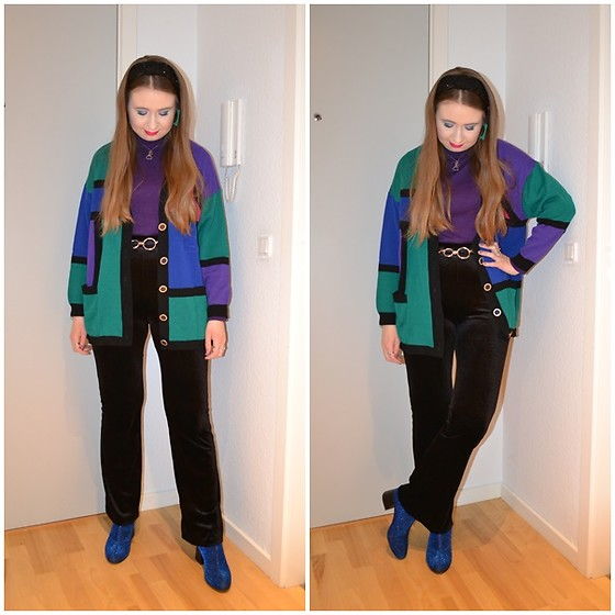 Mucha Lucha - Second Hand Roll Neck Top, Asos Belt, Second Hand Cardigan, Monki Trousers, Monki Boots - '70s and '80s
