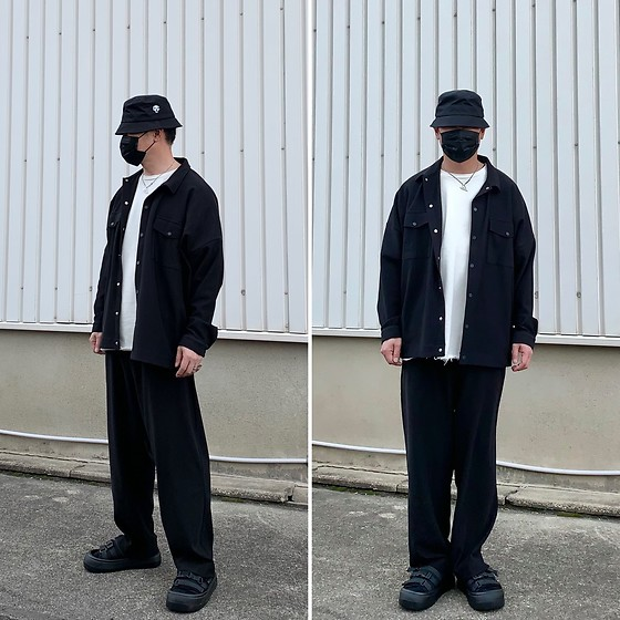 ★masaki★ - Collusion Rib Fabric Oversized Shirt, Collusion Rib Fabric Wideleg Joggers, Vitaly Heart Of Gold - COLLUSION set up