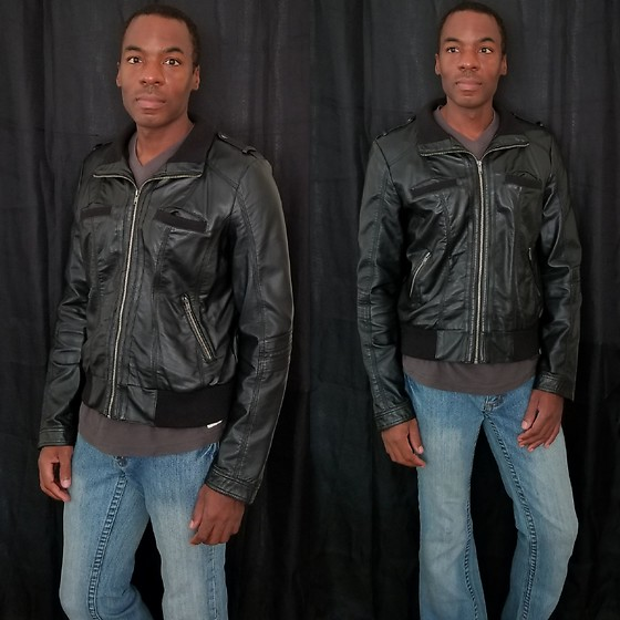 Thomas G - Xhilaration Faux Leather Jacket, Cielo Denim Bootcut Jeans - Faux leather jacket | Denim jeans