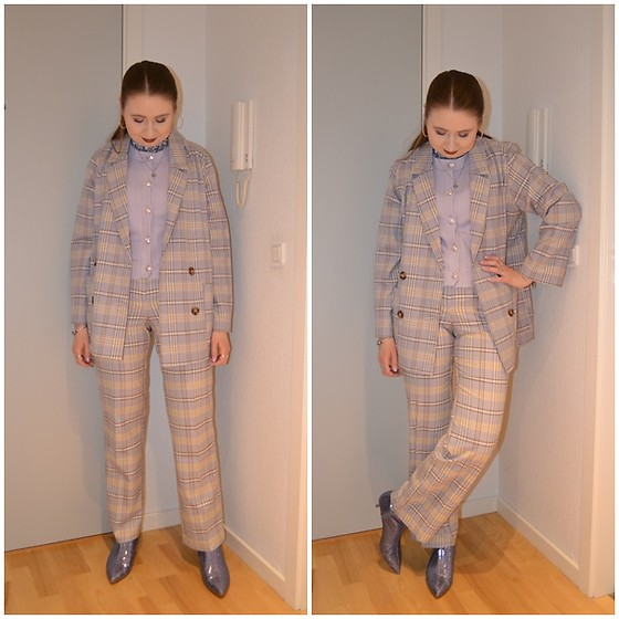 Mucha Lucha - H&M Roll Neck Top, Monki Vest, Monki Blazer, Monki Trousers, Zara Boots - Lilac checked matching set