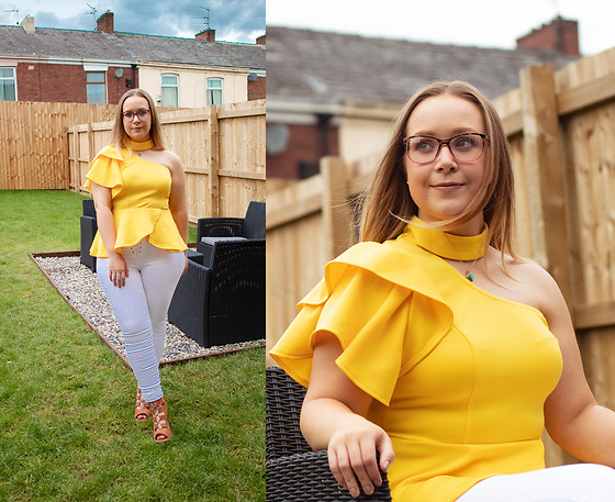 Emma R - Romwe Yellow Ruffle Blouse Gifted - Spring Yellows